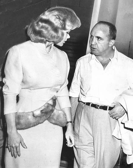 "Mickey Cohen and ""girlfriend"" legendary stripper, Candy Barr."